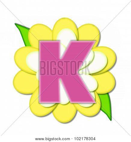 Alphabet Flower Pin Yellow K