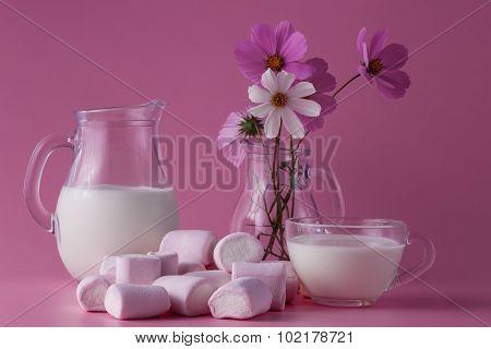 Pink Marshmallow, Milk, Flowers
