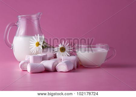 Pink Marshmallow With Milk, Flowers