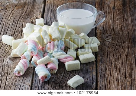 Colored Marshmallow With Milk