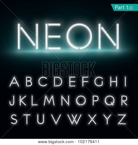 Neon Alphabet. Glowing Font. Vector Format Part 1