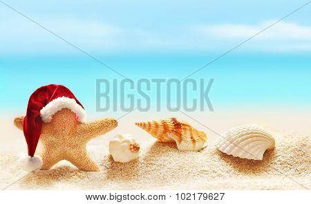 Starfish In Santa Hat On Summer Beach