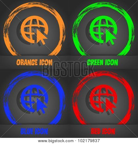 Internet Sign Icon. World Wide Web Symbol. Cursor Pointer. Fashionable Modern Style. In The Orange,