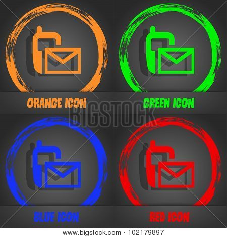 Mail Icon. Envelope Symbol. Message Sms Sign. Fashionable Modern Style. In The Orange, Green, Blue,