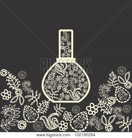 Fragrance Flowers  In A Perfume Bottle.