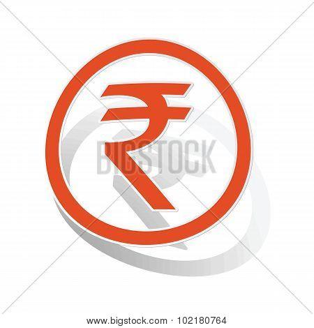 Indian rupee sign sticker, orange