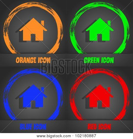 Home Sign Icon. Main Page Button. Navigation Symbol. Fashionable Modern Style. In The Orange, Green,