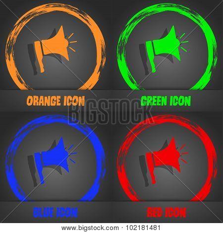 Megaphone Soon Icon. Loudspeaker Symbol. Fashionable Modern Style. In The Orange, Green, Blue, Red D