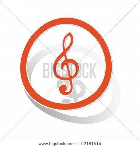 Music sign sticker, orange