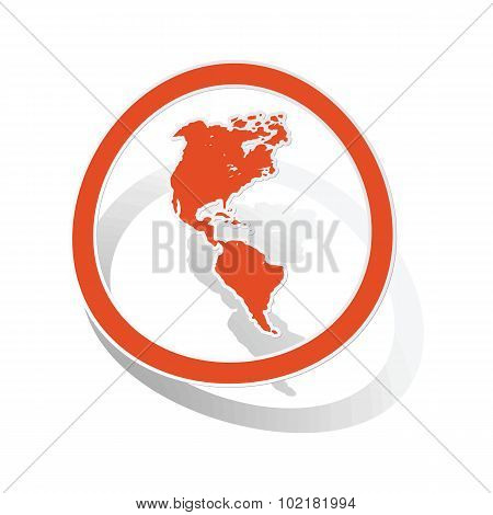 American continents sign sticker, orange
