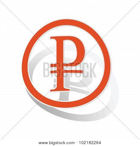 Rouble sign sticker, orange