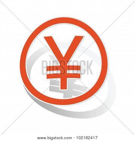 Yen sign sticker, orange