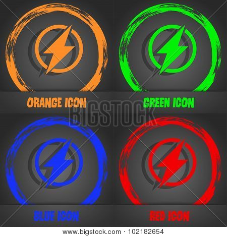 Photo Flash Sign Icon. Lightning Symbol. Fashionable Modern Style. In The Orange, Green, Blue, Red D