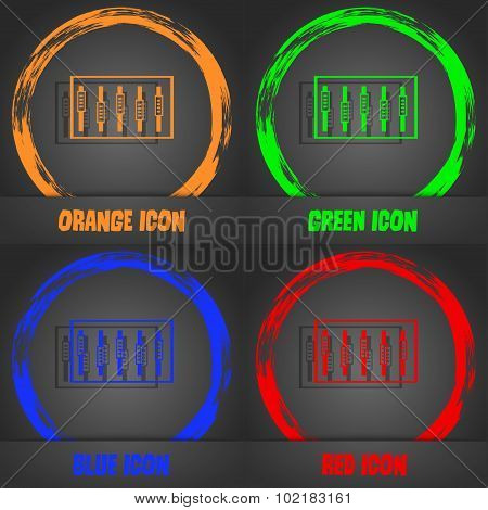 Dj Console Mix Handles And Buttons, Level Icons. Fashionable Modern Style. In The Orange, Green, Blu
