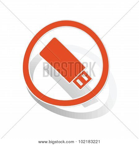 USB stick sign sticker, orange