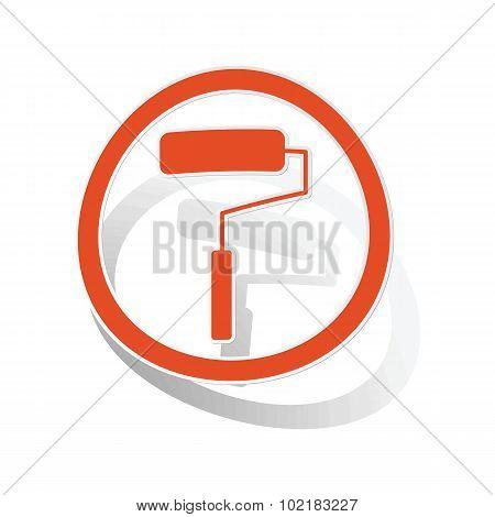 Paint roller sign sticker, orange