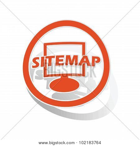 Sitemap sign sticker, orange