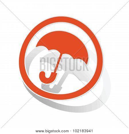 Umbrella sign sticker, orange