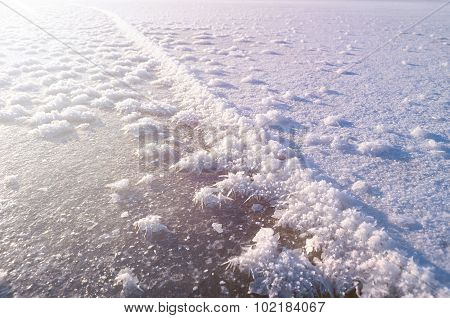 Winter Landscape With Icicles On The Foreground