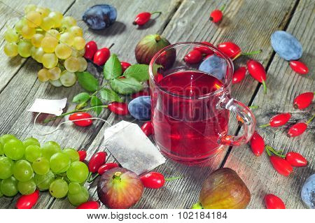 Dog Rose Tea And Autumn Fruits