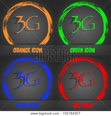 3G Sign Icon. Mobile Telecommunications Technology Symbol. Fashionable Modern Style. In The Orange,