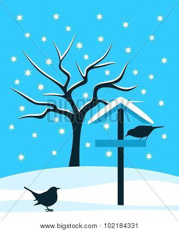 Bird Table And Birds