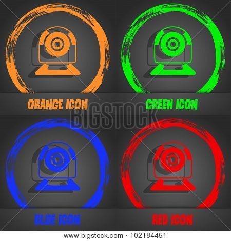 Webcam Sign Icon. Web Video Chat Symbol. Camera Chat. Fashionable Modern Style. In The Orange, Green