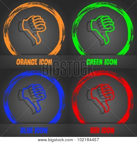 Dislike Sign Icon. Thumb Down. Hand Finger Down Symbol. Fashionable Modern Style. In The Orange, Gre