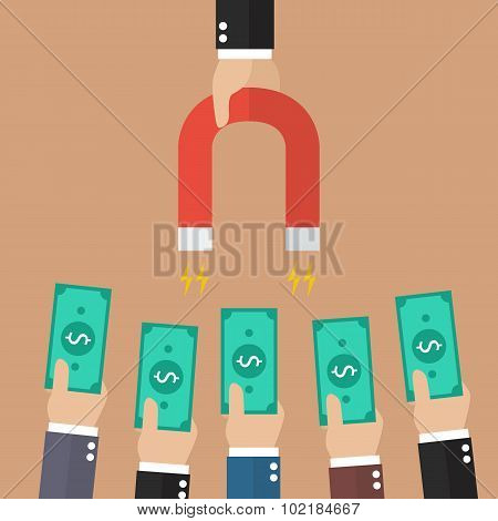 Businessman Holding Magnet Attracting Investments