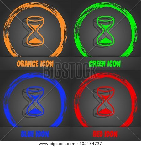Hourglass Sign Icon. Sand Timer Symbol. Fashionable Modern Style. In The Orange, Green, Blue, Red De
