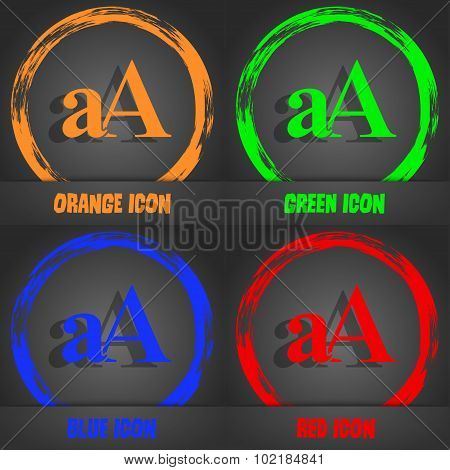 Enlarge Font, Aa Icon Sign. Fashionable Modern Style. In The Orange, Green, Blue, Red Design. Vector