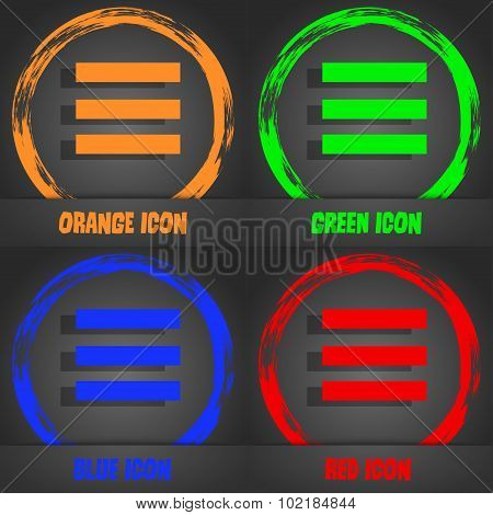 Align Text To The Width Icon Sign. Fashionable Modern Style. In The Orange, Green, Blue, Red Design.