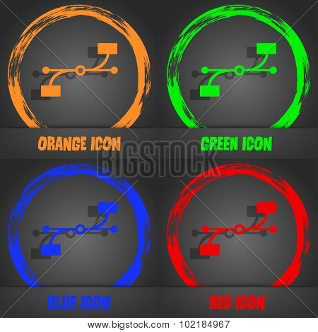 Bezier Curve Icon Sign. Fashionable Modern Style. In The Orange, Green, Blue, Red Design. Vector