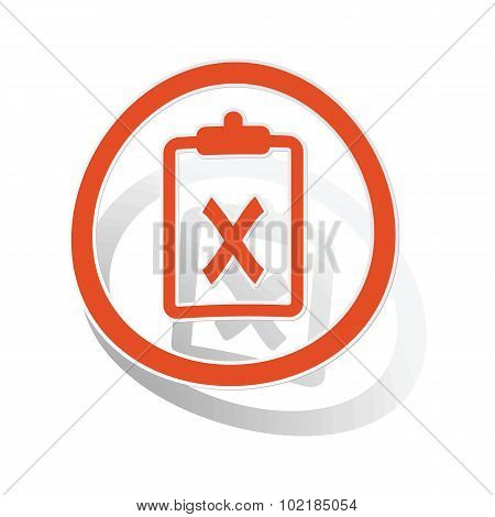 Negative result sign sticker, orange