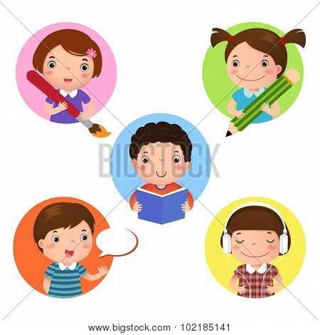 Set Of Kids Mascot Learning. Icon For Writing, Drawing, Reading, Speaking