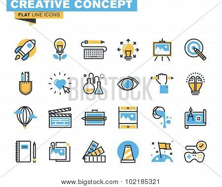 Flat line icon pack for art and creative process