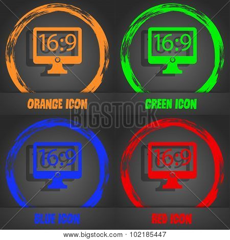 Aspect Ratio 16 9 Widescreen Tv Icon Sign. Fashionable Modern Style. In The Orange, Green, Blue, Red