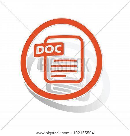 DOC document sign sticker, orange