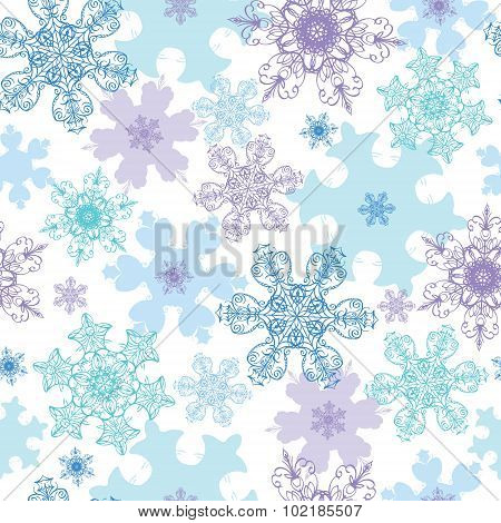 Vector Blue Purple Detailed Snowflakes Holiday Seamless Pattern