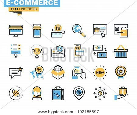 Flat line icon pack for e-commerce