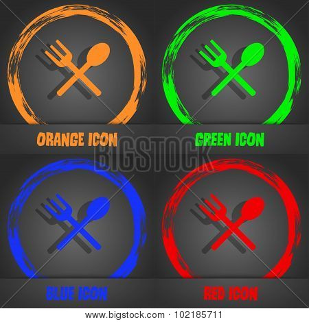 Fork And Spoon Crosswise, Cutlery, Eat Icon Sign. Fashionable Modern Style. In The Orange, Green, Bl