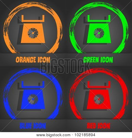 Kitchen Scales Icon Sign. Fashionable Modern Style. In The Orange, Green, Blue, Red Design. Vector