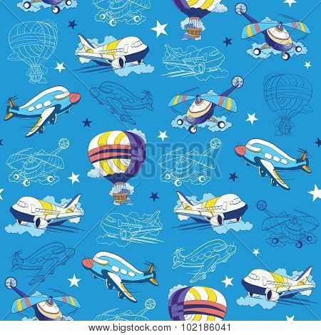 Vector Transport Airplane Helicopter Seamless Pattern. Hot Air Baloon. Sky Lineart