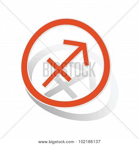 Sagittarius sign sticker, orange