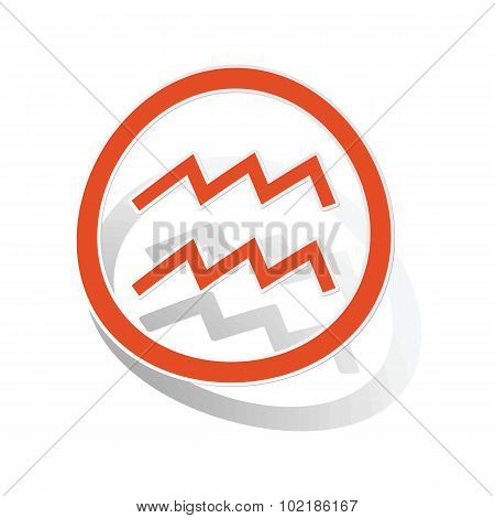 Aquarius sign sticker, orange