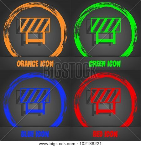 Road Barrier Icon Sign. Fashionable Modern Style. In The Orange, Green, Blue, Red Design. Vector