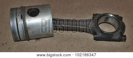 Old Piston Engine Connecting Rod Shaft