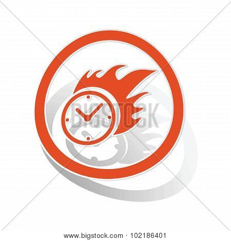 Burning clock sign sticker, orange