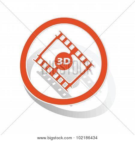 3D movie sign sticker, orange