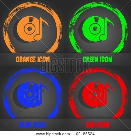 Cd Or Dvd Icon Sign. Fashionable Modern Style. In The Orange, Green, Blue, Red Design. Vector